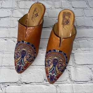 Patricia Nash Cognac Embroidered Leather Mule